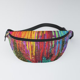 Peacock Mermaid SUNSET Abstract Geometric Fanny Pack