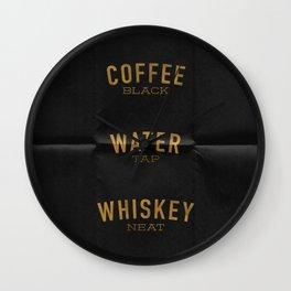 Coffee Water & Whiskey Wall Clock