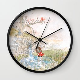 PUDDLE GIRL Wall Clock