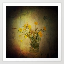 One Glass with pretty yellow weeds Art Print