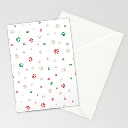 Trace doodle paw prints pattern background with Christmas new years background Stationery Cards