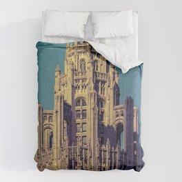 Chicago Tribune Building Buttresses Neo-Gothic Architecture Illinois Comforters