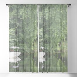 Green Mirror: Stillness of Summer Sheer Curtain