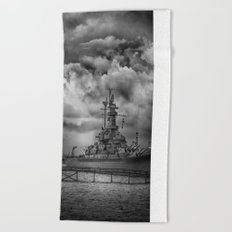 Battleship in Black and White Beach Towel
