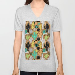 Cactus Crazy in Tumbleweed Tan - Small Scale Unisex V-Neck