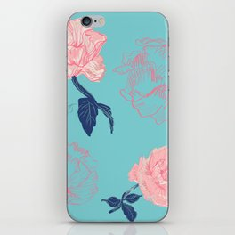 Vintage roses and peonies in bohemian style iPhone Skin