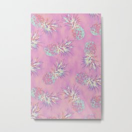 Pink Pineapple Pattern Metal Print