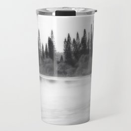 Foggy morning at the beach in black and white Travel Mug