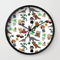 jurassic park Wall Clocks featuring Jurassic Park Bits by Lacey Simpson