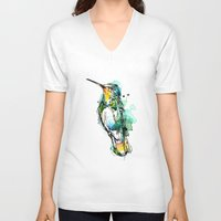 emerald V-neck T-shirts featuring Emerald Hummer by Abby Diamond