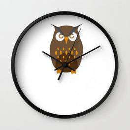 Not A Morning Person Funny Lazy Owl Night Hunter Nocturnal Birds Wildlife Gift Wall Clock