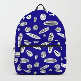 Many Autumn Plant Seeds Pattern in Dark Blue Backpack