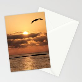 Sunrise view of migratory birds flying on the jeju  island sea in Korea. Stationery Cards