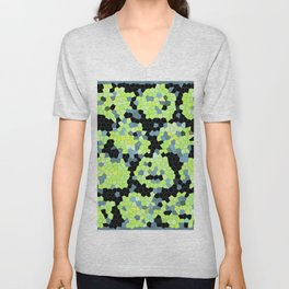 Cell Print Home Decor Graphic Design Pastel Colors Green Grey Blue Black Mint Lime Kiwi Unisex V-Neck