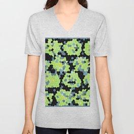 Cell Print Home Decor Graphic Design Pastel Colors Green Grey Blue Black Mint Lime Kiwi Unisex V-Neck