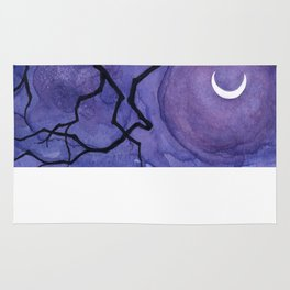Crescent Moon and Night Sky  Rug