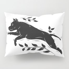 Jumping Dog With Leaves –black palette Pillow Sham