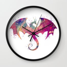 Dragon Art Watercolor Print Dragon Nursery Decor Home Decor Dragon Poster Purple Kids Room Decor Wall Clock