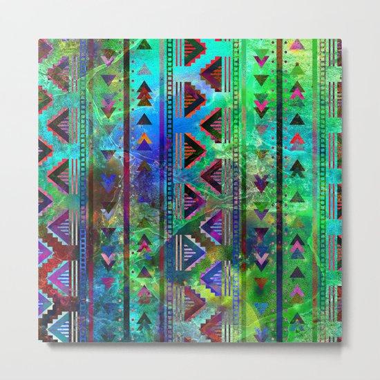 blue green pattern triangles Metal Print