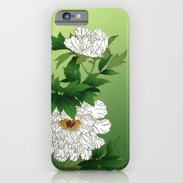 Vintage Japanese Sketch of Large White Peony iPhone Case