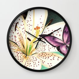 White Lily Wall Clock