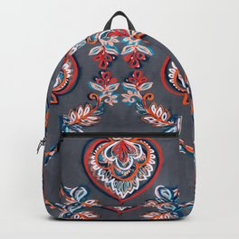 Floral Ogees in Red & Blue on Grey Backpack