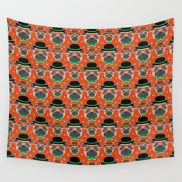 Hipster Pug Pattern Wall Tapestry