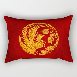 Traditional Yellow and Red Chinese Phoenix Circle Rectangular Pillow