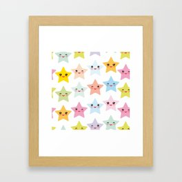Kawaii stars pattern, face with eyes, pink green blue purple yellow Framed Art Print