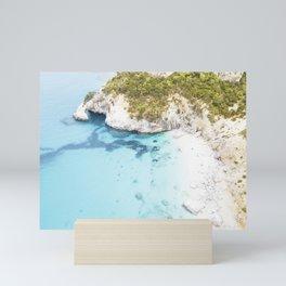 Aerial photograph of cliff beach in Sardinia Mini Art Print