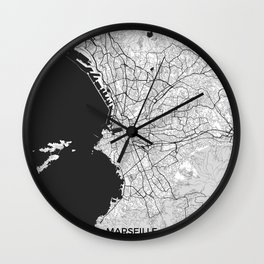 Marseille Map Gray Wall Clock