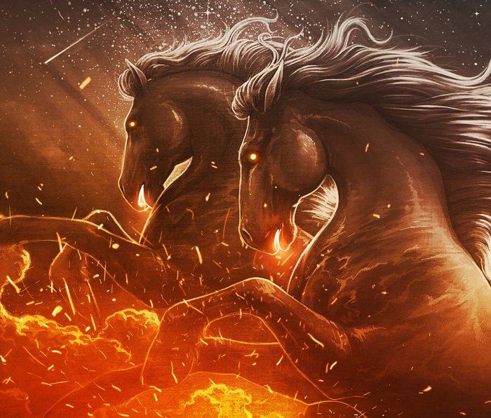 Fire with Horses Metal Travel Mug