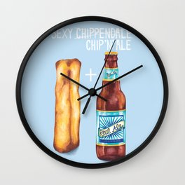 Food Pun - Sexy Chip 'N' Ale Wall Clock
