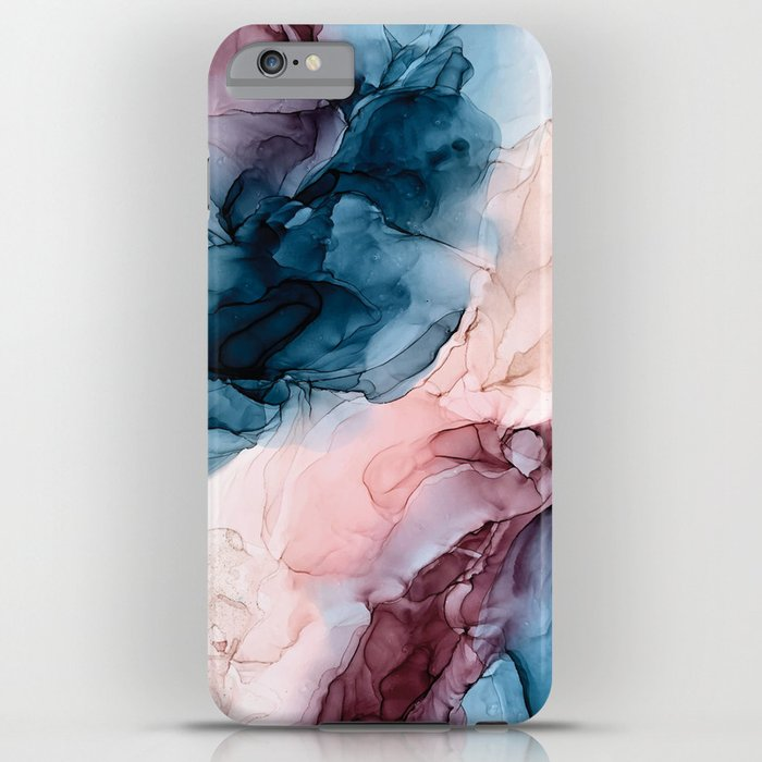 Pastel Plum, Deep Blue, Blush and Gold Abstract Painting iPhone Case
