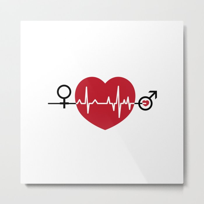 Love hearts EKG Metal Print