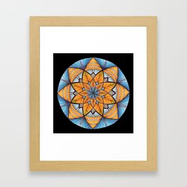 Sapphire-Gold Mandala (on black) Framed Art Print