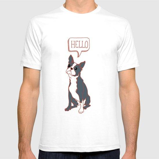 Boston Terrier, Hello, Red, Black, Grey T-shirt