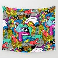 brain Wall Tapestries featuring Brain Dump by Chris Piascik