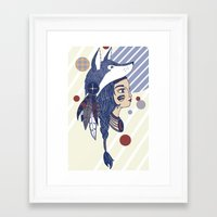native american Framed Art Prints featuring Native American by Katie Ruby Illustrator