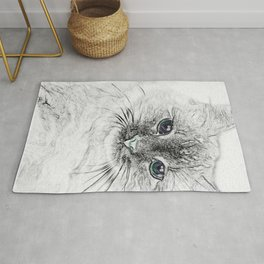 Siberian Kitty Cat Laying on the Marble Slab Rug