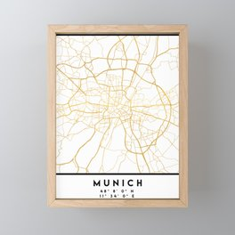 MUNICH GERMANY CITY STREET MAP ART Framed Mini Art Print