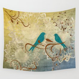 Bleu Birds Wall Tapestry