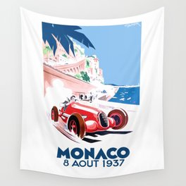 1937 MONACO Grand Prix Racing Poster Wall Tapestry