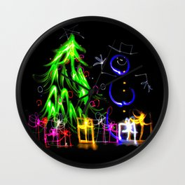 Happy Holidays a light painting Christmas tree and snowman Wall Clock