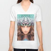 flora V-neck T-shirts featuring Flora by Cash Mattock