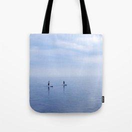 Couple Paddleboarding on Lake Ontario Tote Bag