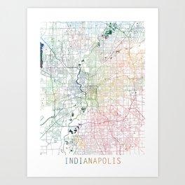 Indianapolis City Watercolor Map Art by Zouzounio Art Art Print
