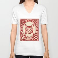 obey V-neck T-shirts featuring OBEY by solomnikov