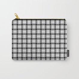 Small Pale Gray Weave Carry-All Pouch
