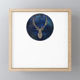 Geometric Space Elk Framed Mini Art Print
